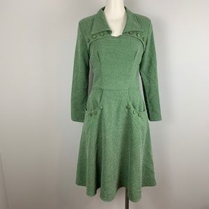Tatyana Judy Circle Skirt Dress Green Retro Repro